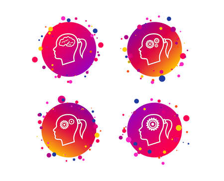 Head with brain icon. Female woman think symbols. Cogwheel gears signs. Gradient circle buttons with icons. Random dots design. Vector Illustration