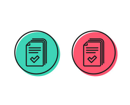 Handout line icon. Documents example sign. Positive and negative circle buttons concept. Good or bad symbols. Handout Vector 스톡 콘텐츠 - 112885430