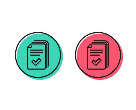 Icona della linea di volantino. Documenti esempio segno. Concetto di pulsanti cerchio positivo e negativo. Simboli buoni o cattivi. vettore di dispense