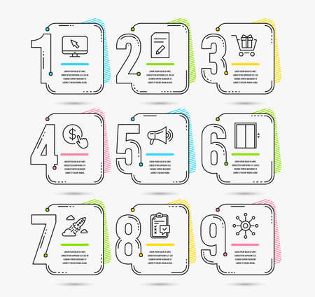 Infographic template with numbers 9 options. Set of Shopping cart, Lift and Edit document icons. Buy currency, Checklist and Megaphone signs. Startup rocket, Internet and Multichannel symbols. Vector Illustration