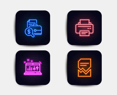 Neon glow lights. Set of Accounting report, Sound check and Printer icons. Corrupted file sign. Financial case, Dj controller, Printing device. Damaged document.  Neon icons. Glowing light banners