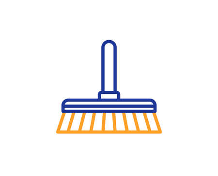 Cleaning mop line icon. Sweep or Wash a floor symbol. Washing Housekeeping equipment sign. Colorful outline concept. Blue and orange thin line color icon. Cleaning mop Vector Çizim