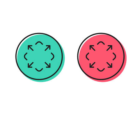 Maximize arrow line icon. Full screen symbol. Maximise Navigation sign. Positive and negative circle buttons concept. Good or bad symbols. Maximize Vector