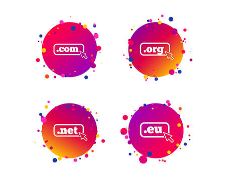 Top-level internet domain icons. Com, Eu, Net and Org symbols with cursor pointer. Unique DNS names. Gradient circle buttons with icons. Random dots design. Vector
