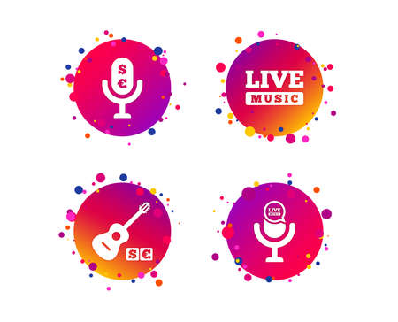 Musical elements icons. Microphone and Live music symbols. Paid music and acoustic guitar signs. Gradient circle buttons with icons. Random dots design. Vector Illustration