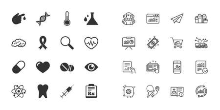 Set of Healthcare, Medicine and Diagnosis icons. Tooth, Pills and Syringe signs. Brain, Blood test and Thermometer symbols. Paper plane, report and shopping cart icons. Group. Healthcare medicine vector