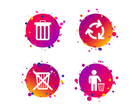 Recycle bin icons. Reuse or reduce symbols. Human throw in trash can. Recycling signs. Gradient circle buttons with icons. Random dots design. Vector