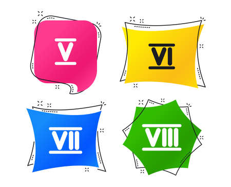 Roman numeral icons. 5, 6, 7 and 8 digit characters. Ancient Rome numeric system. Geometric colorful tags. Banners with flat icons. Trendy design. Vector