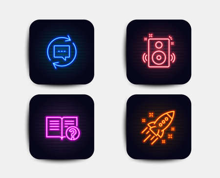 Neon glow lights. Set of Update comments, Speakers and Help icons. Startup rocket sign. Chat speech bubble, Sound, Documentation. Business innovation.  Neon icons. Glowing light banners. Vector 写真素材 - 111196112