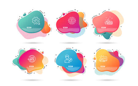 Dynamic liquid shapes. Set of Present, Cashback and Customisation icons. Edit person sign. Gift, Refund commission, Settings. Change user info.  Gradient banners. Fluid abstract shapes. Vector