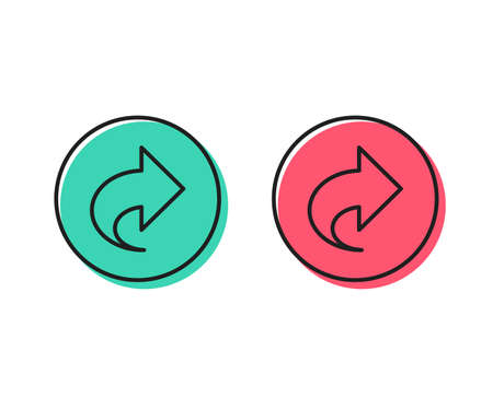 Share arrow line icon. Link Arrowhead symbol. Communication sign. Positive and negative circle buttons concept. Good or bad symbols. Share Vector