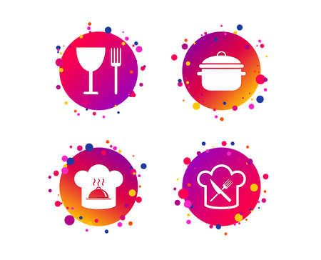 Chief hat and cooking pan icons. Crosswise fork and knife signs. Boil or stew food symbols. Gradient circle buttons with icons. Random dots design. Vector Illustration