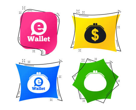 Electronic wallet icons. Dollar cash bag sign. eWallet symbol. Geometric colorful tags. Banners with flat icons. Trendy design. Vector