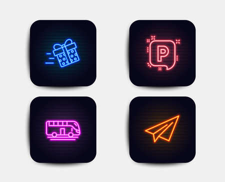 Neon glow lights. Set of Bus tour, Present delivery and Parking icons. Paper plane sign. Transport, Shopping service, Auto park. Airplane.  Neon icons. Glowing light banners. Vector