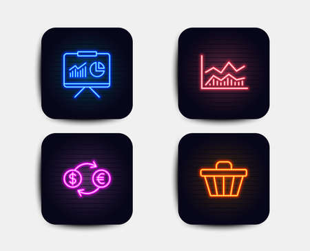 Neon set of Trade infochart, Currency exchange and Presentation icons. Shop cart sign. Business analysis, Banking finance infochart, Board with charts. Web buying. Neon icons. Vector