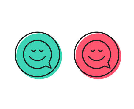 Comic speech bubble with Smile line icon. Chat emotion sign. Positive and negative circle buttons concept. Good or bad symbols. Smile Vector