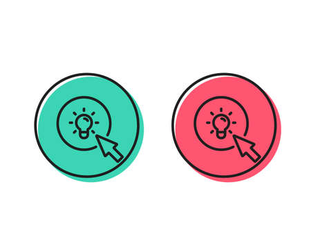Idea lamp line icon. Mouse cursor sign. Light bulb symbol. Positive and negative circle buttons concept. Good or bad symbols. Energy Vector
