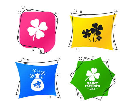 Saint Patrick day icons. Money bag with clovers and coins sign. Symbol of good luck. Geometric colorful tags. Banners with flat icons. Trendy design. Vector