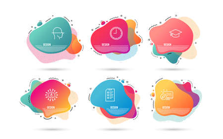 Dynamic liquid shapes. Set of Graduation cap, Time and Face scanning icons. Checklist sign. University, Office clock, Faces detection. Data list.  Gradient banners. Fluid abstract shapes. Vector Illustration