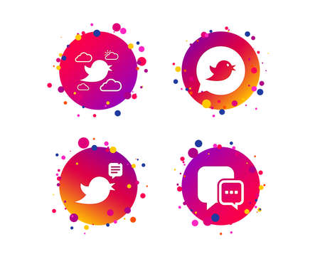 Birds icons. Social media speech bubble. Chat bubble with three dots symbol. Gradient circle buttons with icons. Random dots design. Vector
