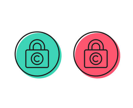 Copyright locker line icon. Copywriting sign. Private Information symbol. Positive and negative circle buttons concept. Good or bad symbols. Copyright locker Vector Illusztráció