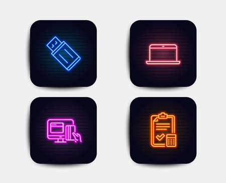 Neon glow lights. Set of Usb flash, Laptop and Online payment icons. Accounting checklist sign. Memory stick, Mobile computer, Money. Calculator.  Neon icons. Glowing light banners. Vector Foto de archivo - 111196159