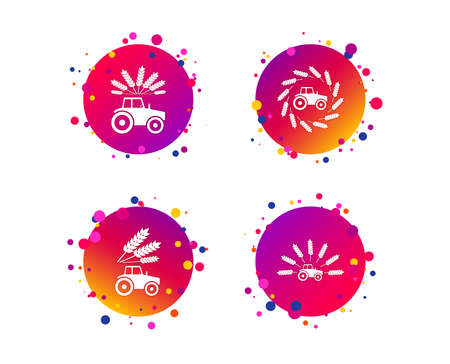 Tractor icons. Wreath of Wheat corn signs. Agricultural industry transport symbols. Gradient circle buttons with icons. Random dots design. Vector Standard-Bild - 112885530