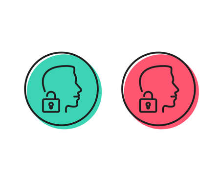 Face accepted line icon. Access granted sign. Unlock system symbol. Positive and negative circle buttons concept. Good or bad symbols. Unlock system Vector Ilustração