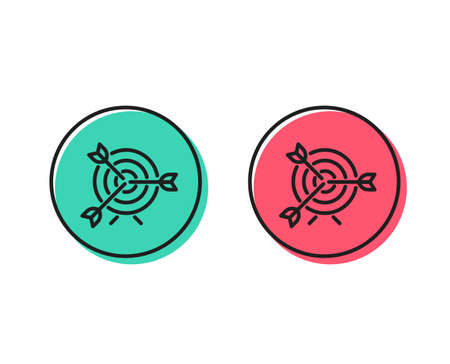 Target line icon. Marketing targeting strategy symbol. Aim with arrows sign. Positive and negative circle buttons concept. Good or bad symbols. Target Vector