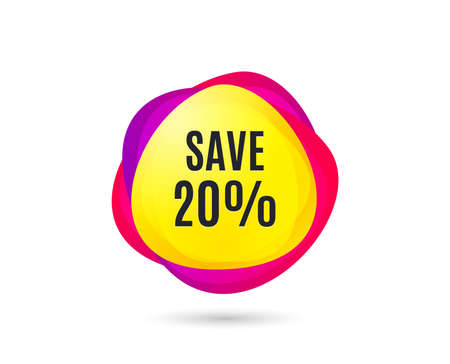 Save 20% off. Sale Discount offer price sign. Special offer symbol. Gradient sale tag. Abstract shopping discount banner. Template for design. Vector