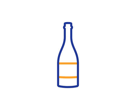 Champagne bottle line icon. Anniversary alcohol sign. Celebration event drink. Colorful outline concept. Blue and orange thin line color icon. Champagne bottle Vector