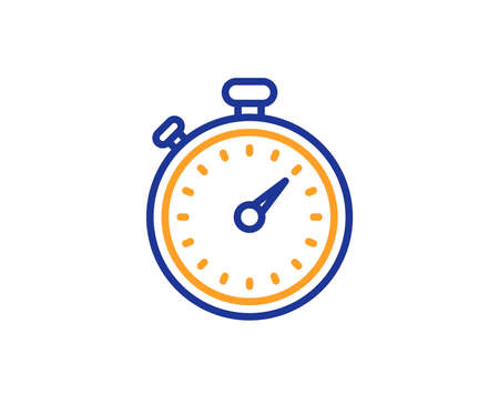Timer line icon. Stopwatch symbol. Time management sign. Colorful outline concept. Blue and orange thin line color icon. Timer Vector Ilustrace