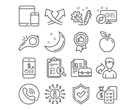 Set of Positive feedback, Whistle and Engineering icons. Vacancy, Mobile devices, report and Intersection arrows signs. Mobile finance, Accounting wealth and Accounting report feedback symbols. Vector Ilustração