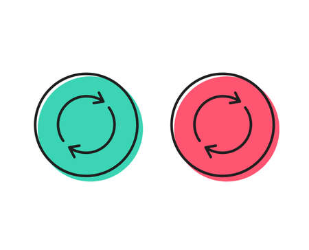Refresh line icon. Rotation arrow sign. Reset or Reload symbol. Positive and negative circle buttons concept. Good or bad symbols. Full rotation Vector Stock Vector - 112885562