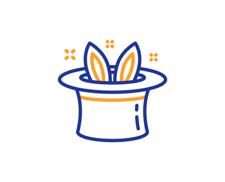 Hat-trick line icon. Magic tricks with hat and rabbit sign. Illusionist show symbol. Colorful outline concept. Blue and orange thin line color icon. Hat-trick Vector Illustration
