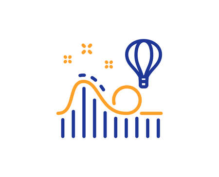Roller coaster line icon. Amusement park sign. Carousels symbol. Colorful outline concept. Blue and orange thin line color icon. Roller coaster Vector