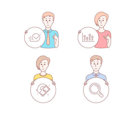 People hand drawn style. Set of Upper arrows, Cashback and Checkbox icons. Research sign. Growth infochart, Receive money, Approved. Magnifying glass.  Character hold circle button. Man with like hand