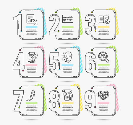 Infographic timeline. Set of Search employees, Column diagram and Copyright icons. Document, Manual doc and Signature signs. Timeline vector