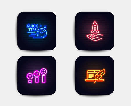 Neon glow lights. Set of Customer satisfaction, Quick tips and Crowdfunding icons. Copyright laptop sign. Happy smile chart, Helpful tricks, Start business. Writer device.  Neon icons. Vector