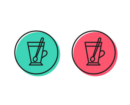 Cup with spoon line icon. Fresh beverage sign. Latte or Coffee symbol. Positive and negative circle buttons concept. Good or bad symbols. Tea mug Vector