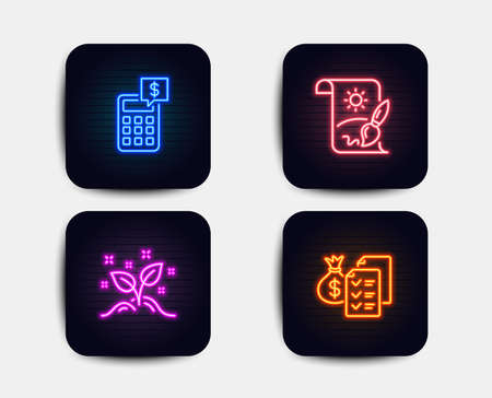 Neon set of Creative painting, Startup concept and Calculator icons. Accounting wealth sign. Graphic art, Launch project, Money management. Audit report. Neon startup icons. Vector