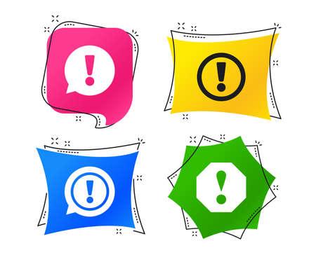 Achtung-Symbole. Ausrufezeichen Sprechblase. Warnzeichen. Geometrische bunte Tags. Banner mit flachen Aufmerksamkeitssymbolen. Trendiges Design. Ausrufezeichen-Vektor Vektorgrafik