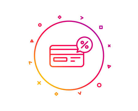 Credit card line icon. Banking Payment card with Discount sign. Cashback service symbol. Gradient pattern line button. Cashback icon design. Geometric shapes. Vector Illustration