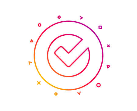 Check line icon. Approved Tick sign. Confirm, Done or Accept symbol. Gradient pattern line button. Verify icon design. Geometric shapes. Vector Ilustração