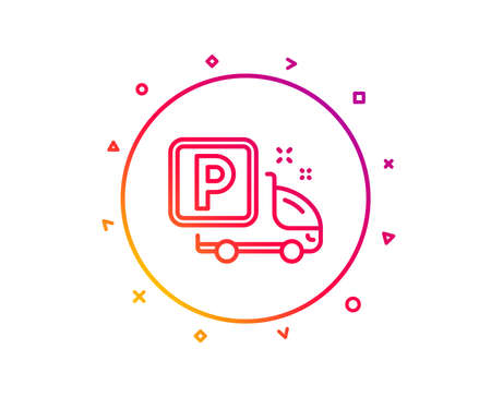 Truck parking line icon. Car park sign. Transport place symbol. Gradient pattern line button. Truck parking icon design. Geometric shapes. Vector Иллюстрация