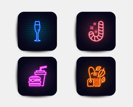 Neon set of Candy, Champagne glass and Hamburger icons. Mint bag sign. Lollypop, Winery, Burger with drink. Mentha tea. Neon icons. Glowing light banners. Candy vector