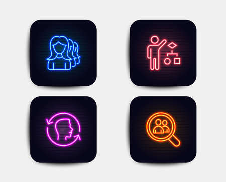 Neon set of Women headhunting, Face id and Algorithm icons. Search employees sign. Women teamwork, Identification system, Developers job. Staff analysis. Neon algorithm icons. Vector Illustration
