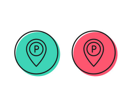 Parking line icon. Location map pointer sign. Car park symbol. Positive and negative circle buttons concept. Good or bad symbols. Parking Vector