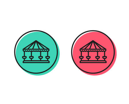 Carousels line icon. Amusement park sign. Positive and negative circle buttons concept. Good or bad symbols. Carousels Vector Standard-Bild - 111605935