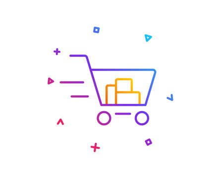 Delivery Service line icon. Shopping cart sign. Express Online buying. Supermarket basket symbol. Gradient line button. Shopping cart icon design. Colorful geometric shapes. Vector